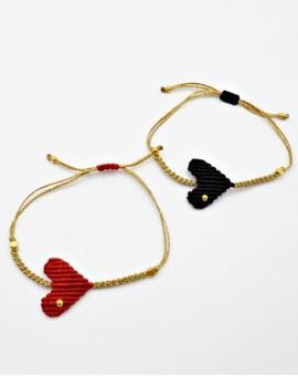 Βραχιόλι Gold Red /Black Heart
