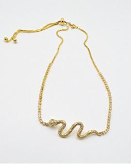 Κολιέ Τσόκερ big gold Snake