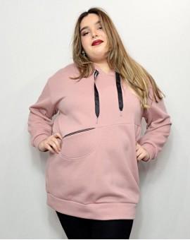 Μπλουζοφόρεμα φούτερ dusty pink