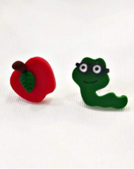 σκουλαρίκια worm and apple