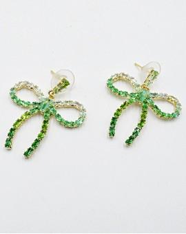 Σκουλαρίκια strassy bow green