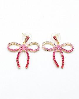 Σκουλαρίκια strassy bow pink